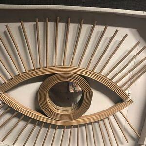 Boho eye circle mirror wood